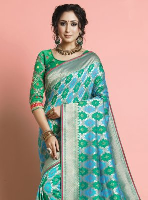 Rama Color Traditional Designer Saree