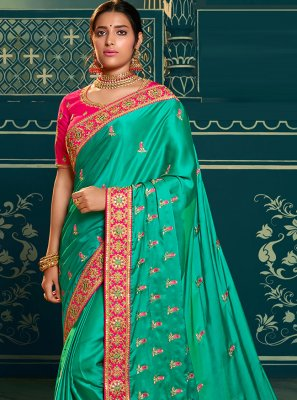 Rama Color Traditional Designer Saree