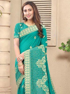 Rama Embroidered Designer Saree