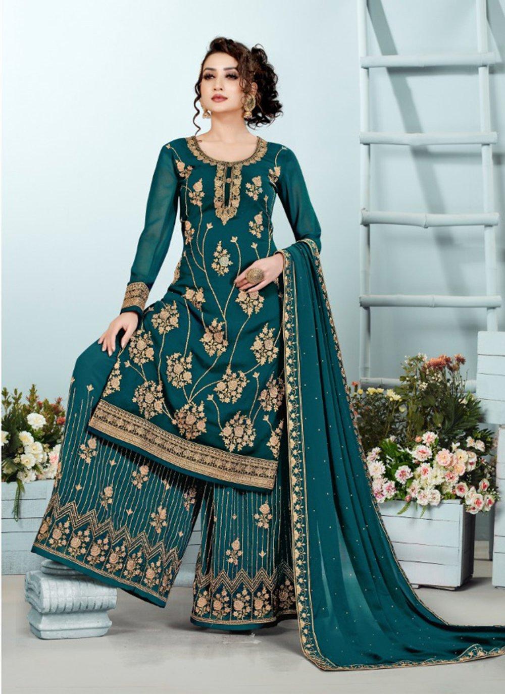Rama Embroidered Georgette Designer Pakistani Suit