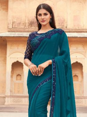 Rama Engagement Faux Georgette Designer Saree