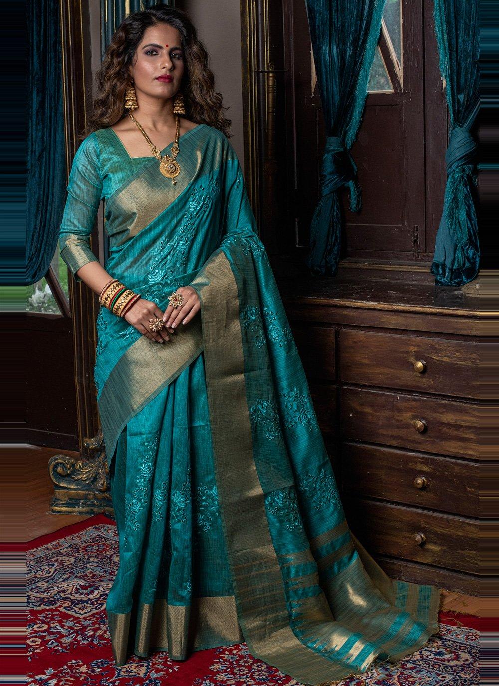 Rama Fancy Handloom silk Traditional Designer Saree