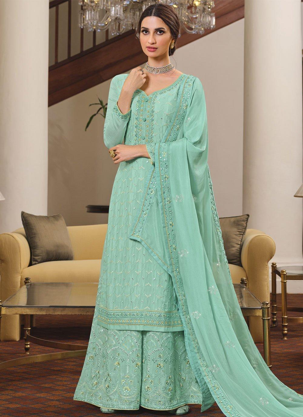Rama Faux Chiffon Designer Palazzo Salwar Suit