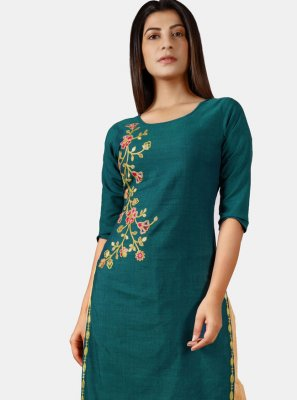 Rama Khadi Embroidered Party Wear Kurti