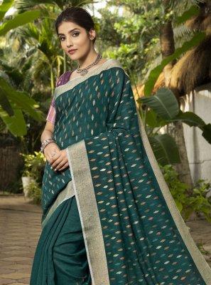 Rama Linen Woven Traditional Designer Saree