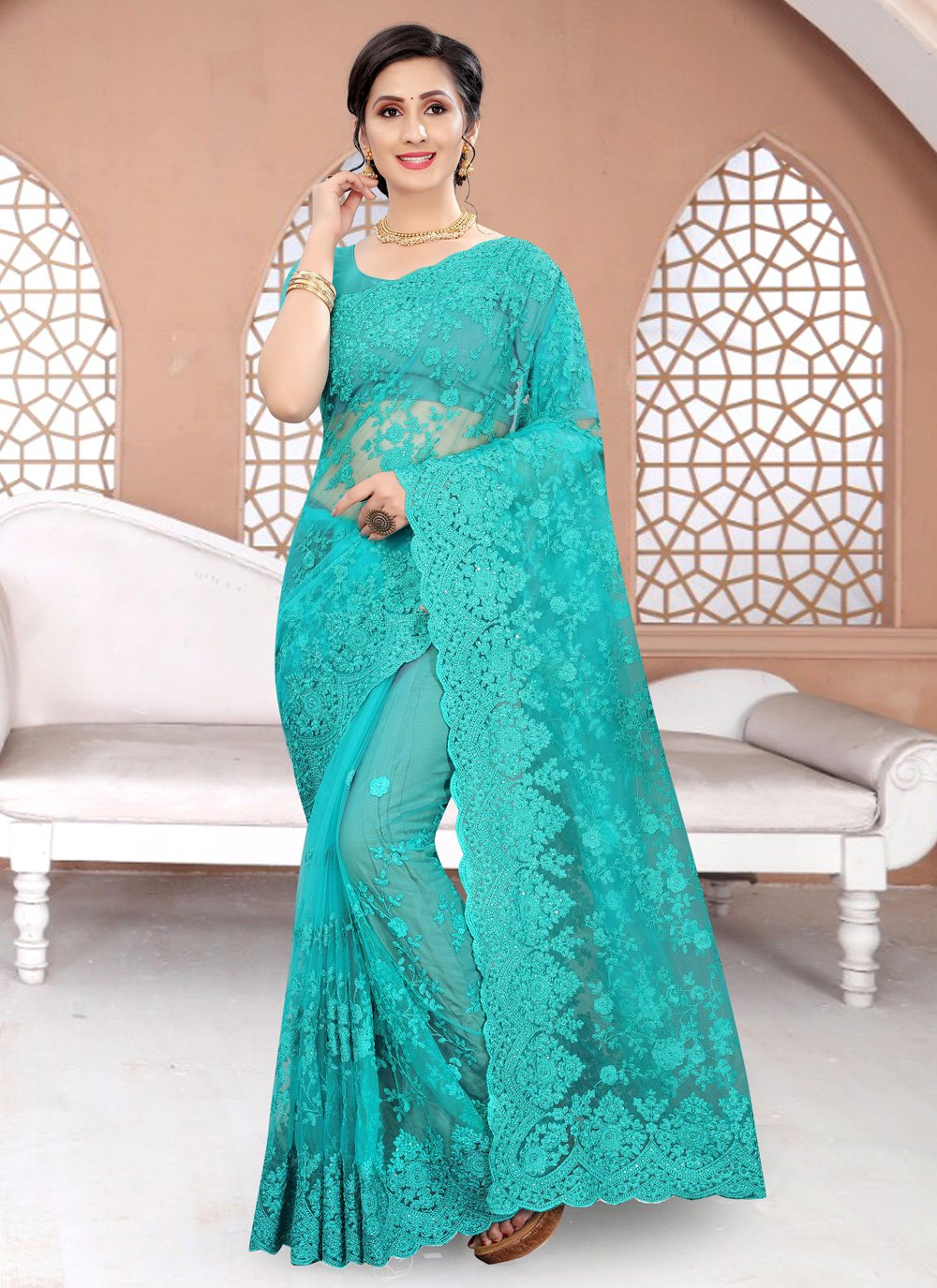 Rama Net Designer Traditional Saree