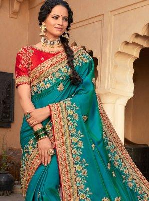 Rama Patch Border Silk Designer Saree