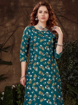 Rama Print Fancy Fabric Party Wear Kurti