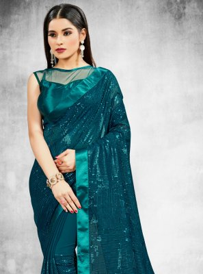 Rama Sequins Festival Trendy Saree