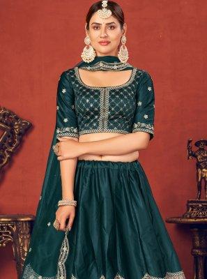 Rama Silk Embroidered Lehenga Choli