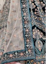 Rama Thread Work Velvet Lehenga Choli