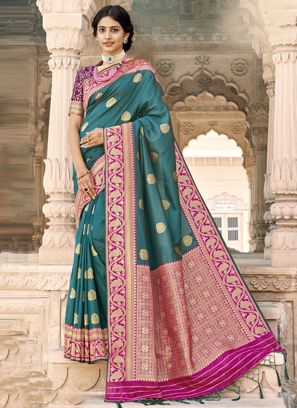 Rama Woven Banarasi Silk Designer Saree