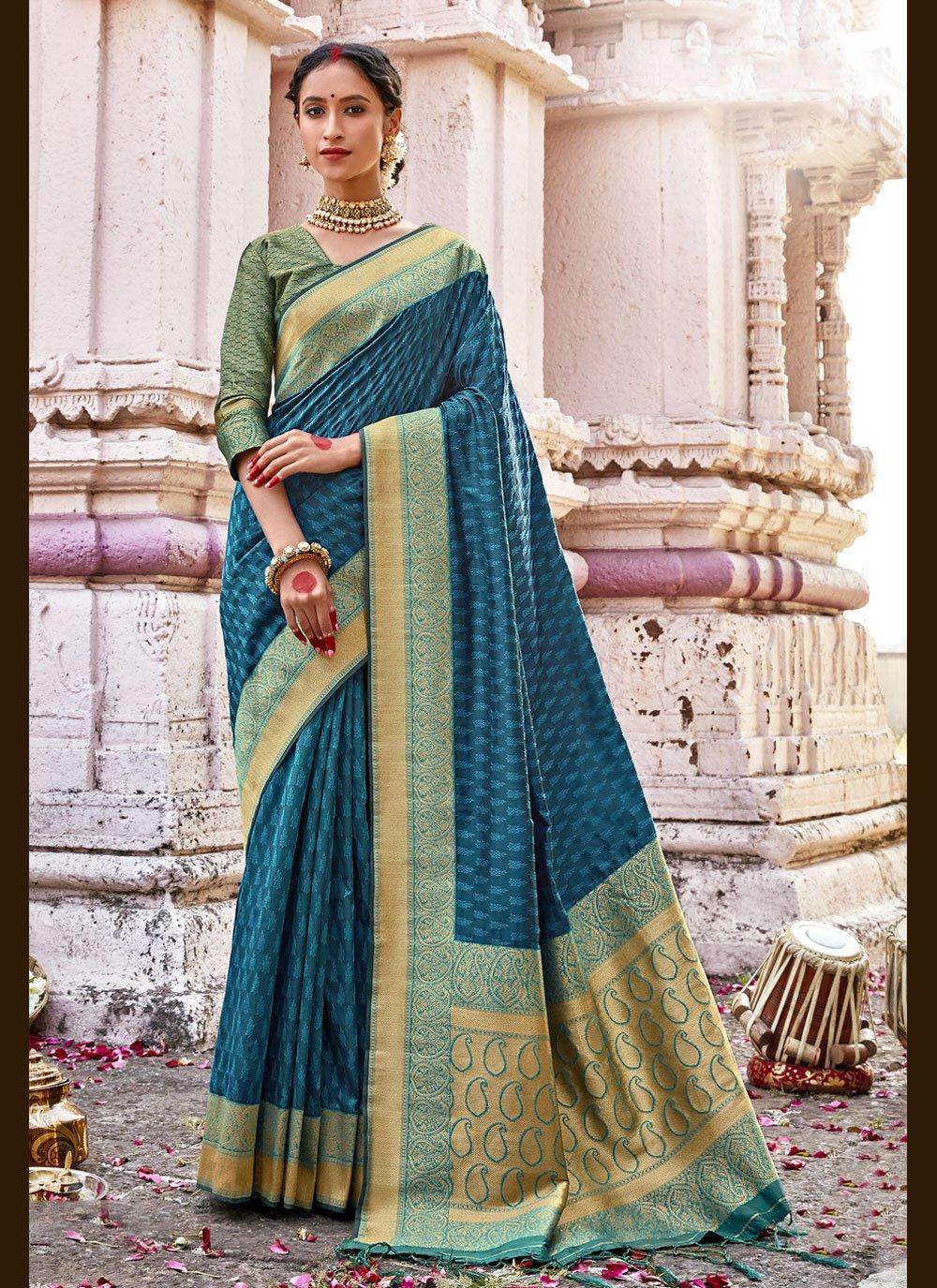 Rama Woven Banarasi Silk Designer Traditional Saree