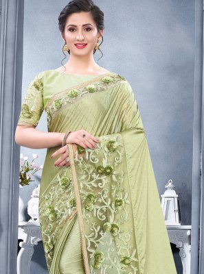 Rangoli Green Embroidered Traditional Saree