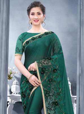 Rangoli Green Resham Designer Traditional Saree