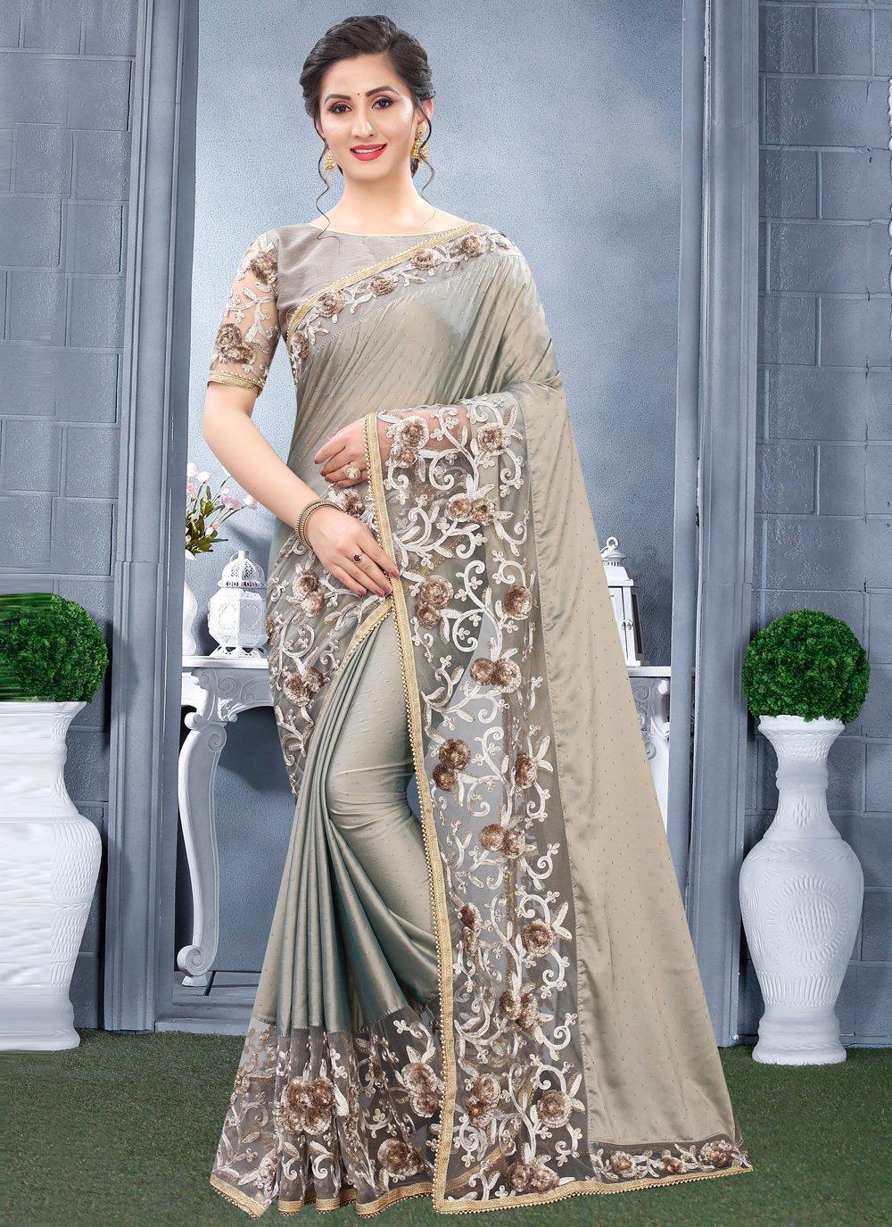 Rangoli Grey Resham Traditional Designer Saree