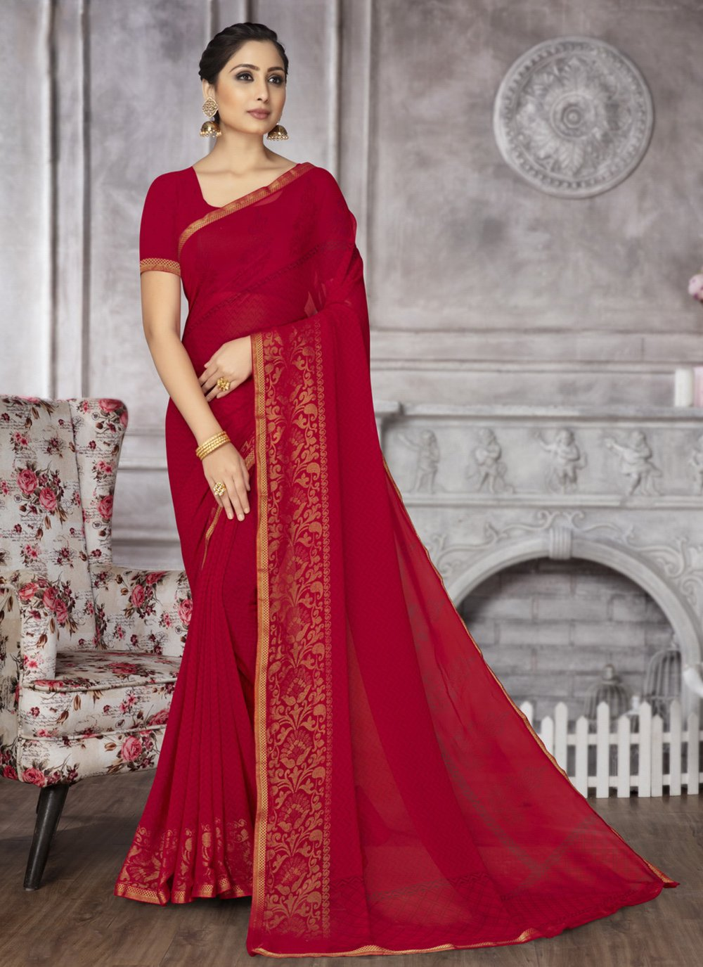 Rani Abstract Print Faux Georgette Printed Saree
