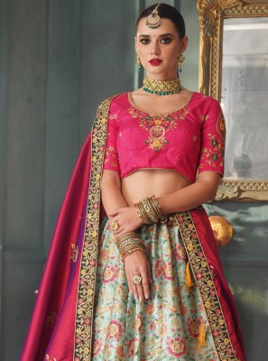 Rani and Sea Green Silk Lehenga Choli