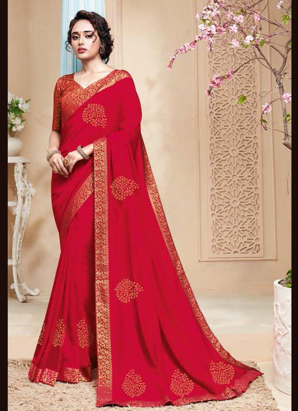 Rani Embroidered Art Silk Designer Traditional Saree
