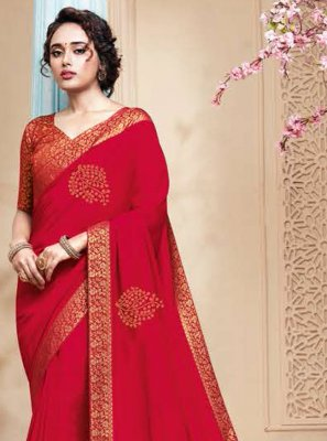 Rani Embroidered Art Silk Designer Traditional Saree
