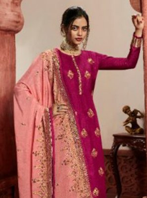 Rani Embroidered Jacquard Silk Pant Style Suit