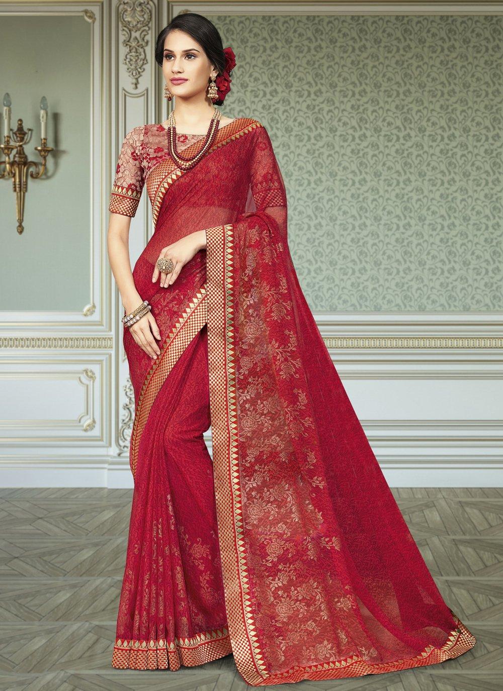 Rani Engagement Traditional Saree