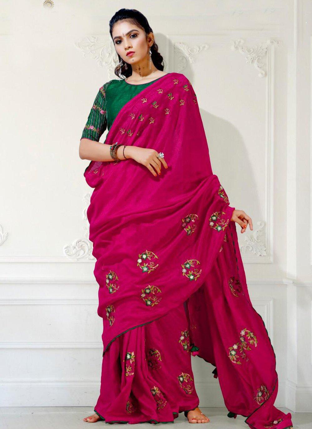 Rani Fancy Fabric Embroidered Saree