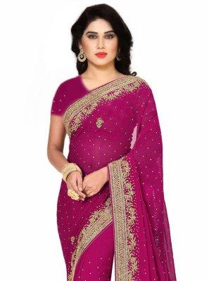 Rani Fancy Fabric Mehndi Designer Saree