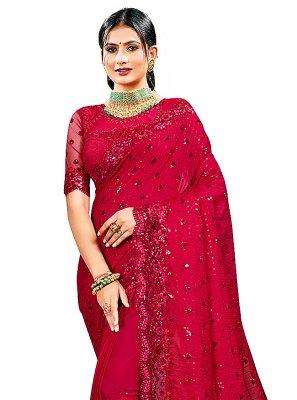 Rani Georgette Satin Ceremonial Designer Saree