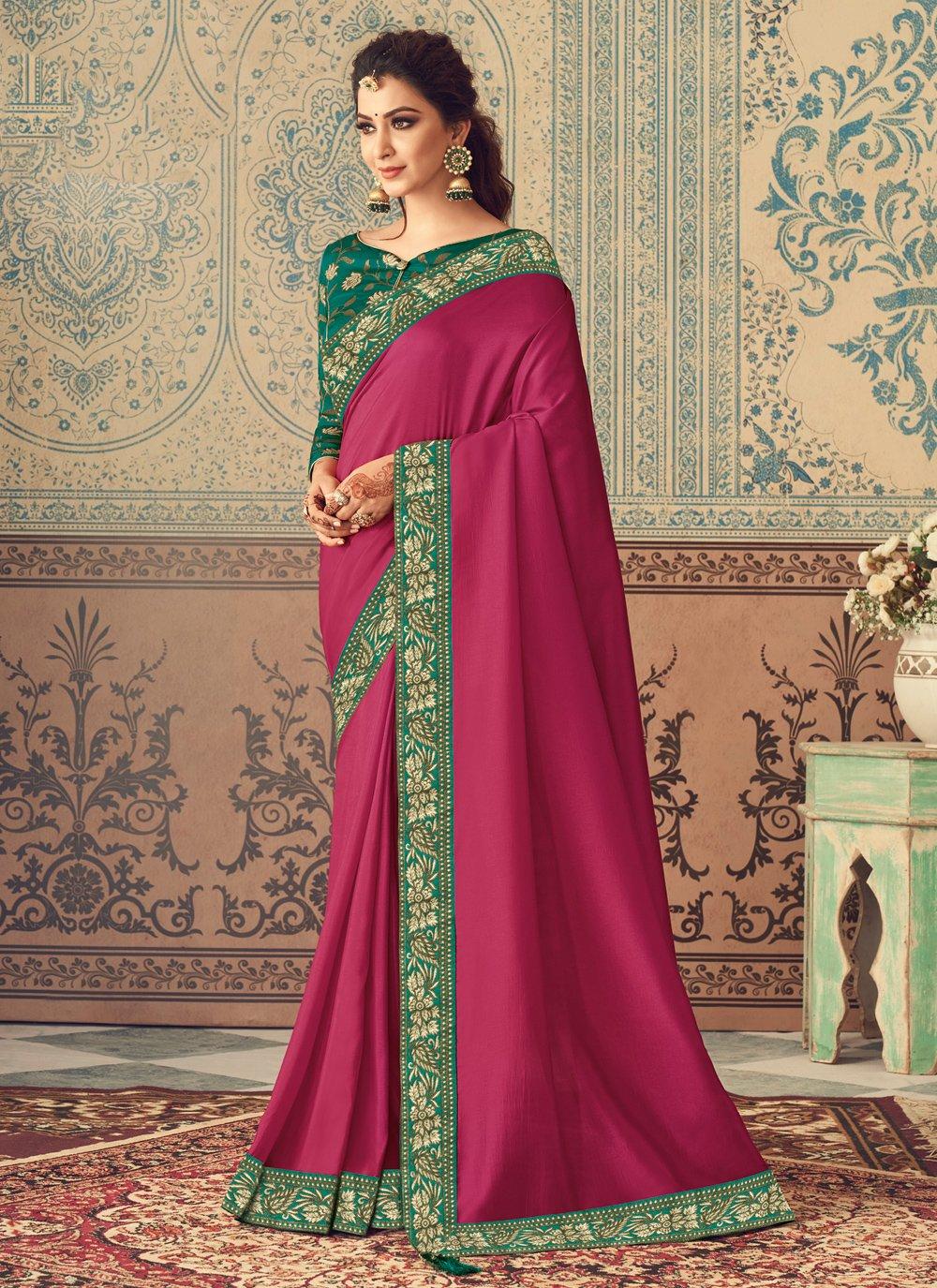 Rani Patch Border Silk Traditional Designer Saree