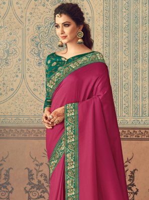 Rani Patch Border Silk Traditional Designer Saree