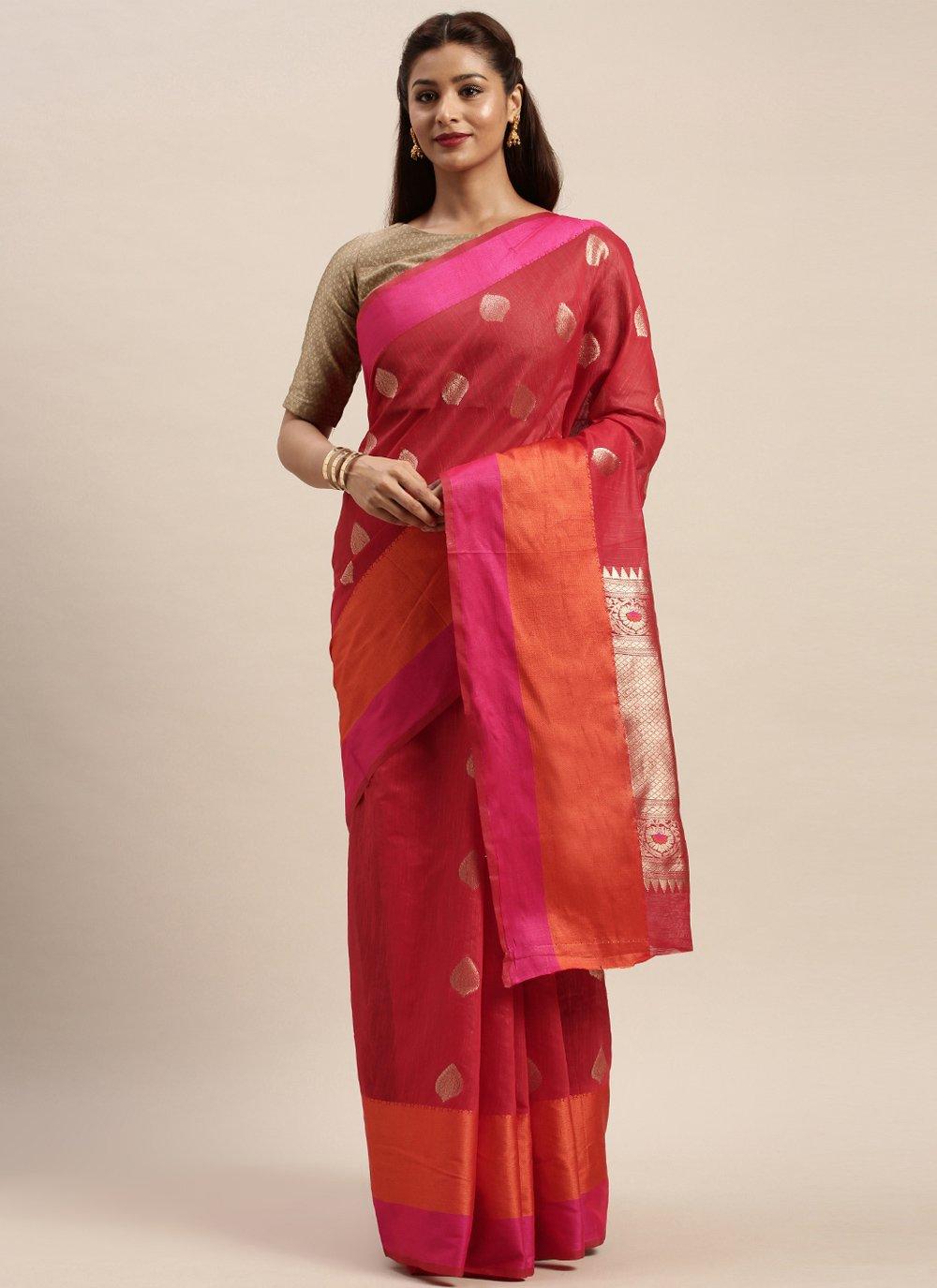 Rani Woven Linen Traditional Designer Saree