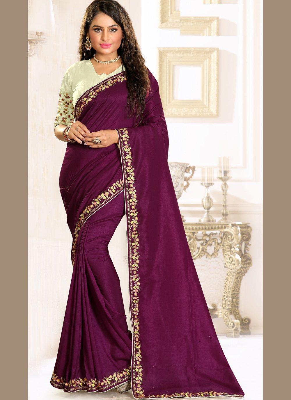 Raw Silk Embroidered Designer Traditional Saree