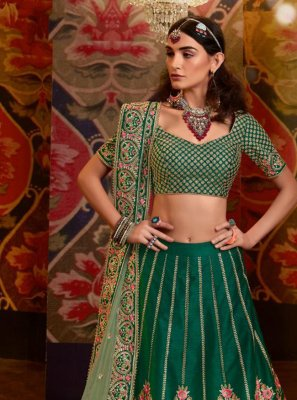 Raw Silk Embroidered Lehenga Choli in Green