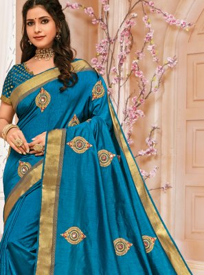 Raw Silk Embroidered Traditional Saree