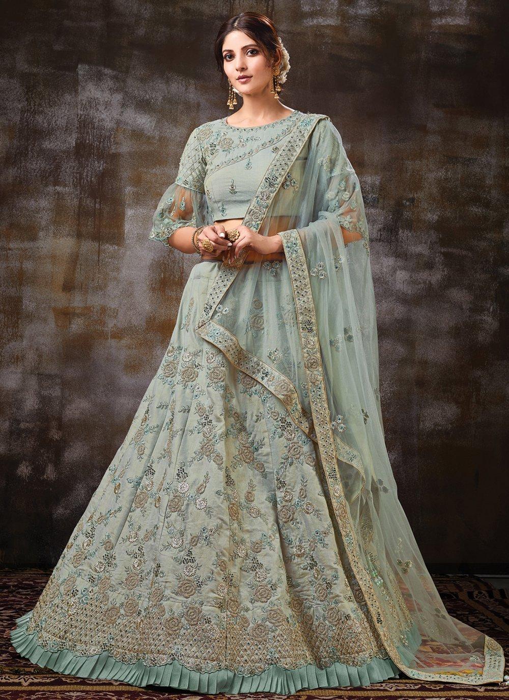 Raw Silk Embroidered Trendy Lehenga Choli