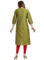 Raw Silk Fancy Green Party Wear Kurti