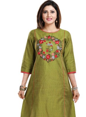 Raw Silk Fancy Green Party Wear Kurti