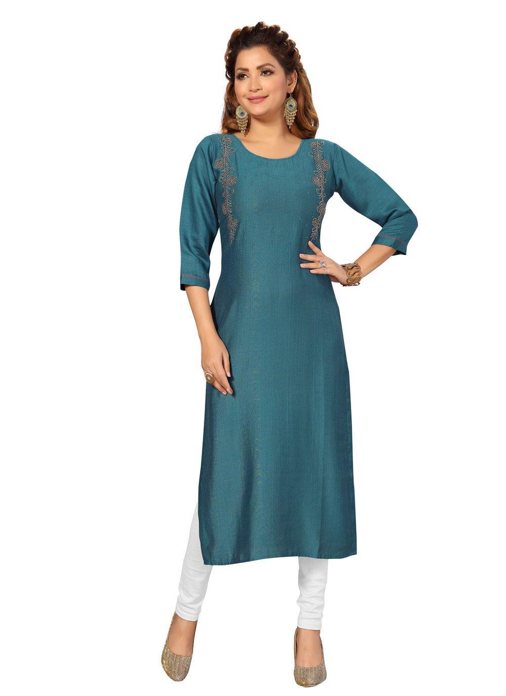 Raw Silk Fancy Rama Designer Kurti