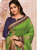 Raw Silk Green Traditional Designer Saree