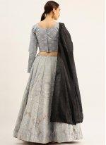 Raw Silk Lehenga Choli in Grey