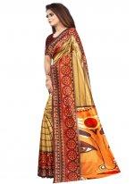 Raw Silk Multi Colour Printed Saree