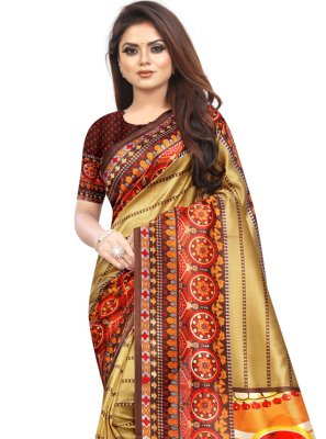 Raw Silk Multi Colour Printed Saree