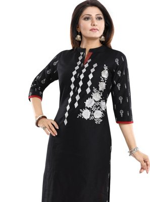 Raw Silk Print Black Party Wear Kurti