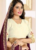 Raw Silk Purple Designer Traditional Saree