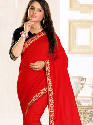 Raw Silk Red Embroidered Traditional Saree