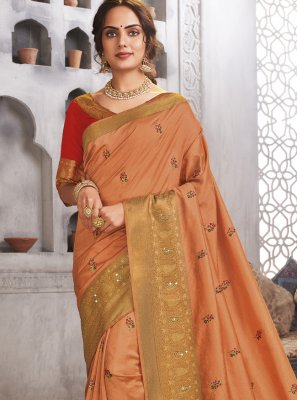 Raw Silk Woven Peach Designer Traditional Saree