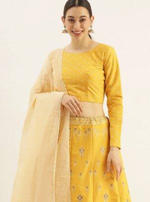Raw Silk Yellow Fancy Lehenga Choli