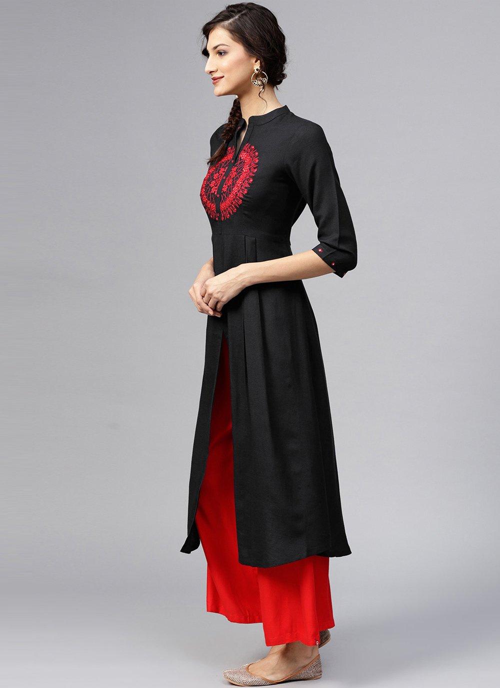 Rayon Black Designer Kurti
