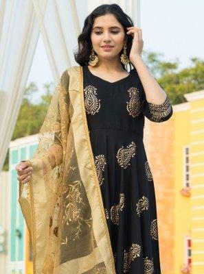 Rayon Black Designer Salwar Kameez